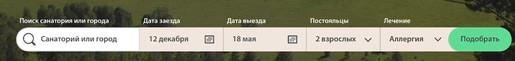 Скриншот: параметры поиска санаториев